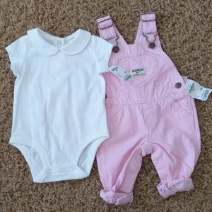 Baby girls 3m onesie with overalls
